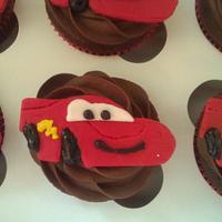 Lightning McQueen cupcakes. by Hello, Sugar!