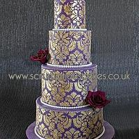 Purple & Gold Damask Cake