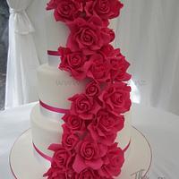 Fuschia Cascading Roses