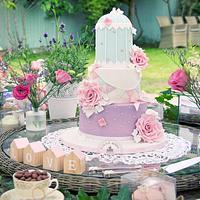 Birdcage christening cake