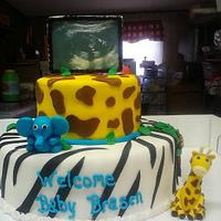 baby shower cake with sonogram pic by thomas mclure