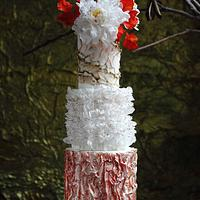 All wafer paper textured wedding cake