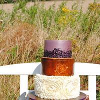 "Charming ""Rustic Ruffle Sequin"" Wedding Cake"
