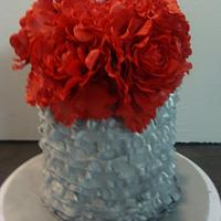 Red Peony and silver Mini cake