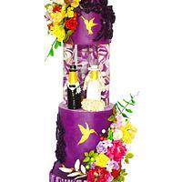Cheers Couple with Morden Purple Wedding Cake