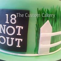 '18 Not Out' Handpainted cricket cake