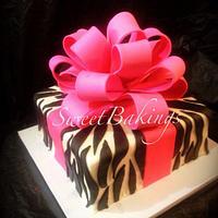 Zebra print with pink bow