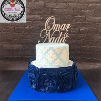 damask & ruffles engagement cake