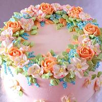 """Spring"" cake with buttercream flowers"