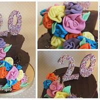 ribbon rose chocolate cake