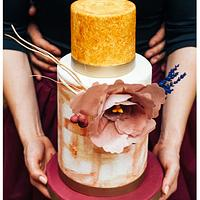 Gold & Marsala Wedding Cake