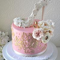 Blush Pink and Gold Bridal Shower Cake
