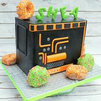 Black and neon doughnut and computer cake