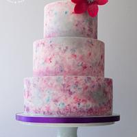 Watercolour effect cake