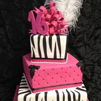 Sweet 16 Pink & Zebra three tier box cake by Bianca