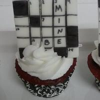 Crossword Puzzle Cupcakes by Cake Creations by Trish