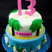 Hawaiian 13th Birthday Cake