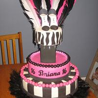 Sweet Sixteen Cake - LIKE ON MTV - Pink and Black Feathers on Column
