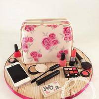 Painted make up bag cake