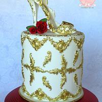 Baroque styled shoe cake.
