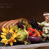 Fruit and vegetable cornucopia. The mistress of the garden