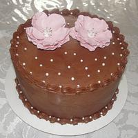 Open rose topper on Chocolate cake