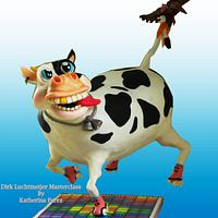 Funky cow gravity defying cake