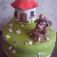 Bunny and Toadstool House cake