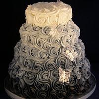 Rose swirl wedding cakes