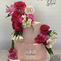 80th Floral Birthday Cake