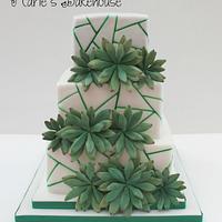 Succulent geometric wedding cake