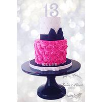 Pink, Black and White Birthday Cake