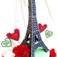 """""""La Vie En Rose"""" . Paris theme cake with Eiffel tower and red roses. by Gulnaz Mitchell"""