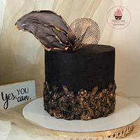 Black and copper Bas relief cake