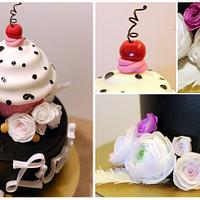 Cake with giant cupcake