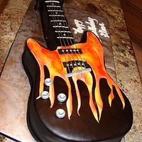 Flaming Guitar Cake