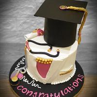 Elegant Doctor graduation cake