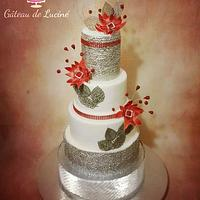 Imaginary red frowers wedding cake