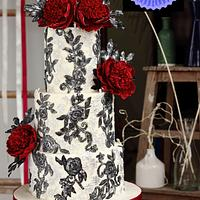 RED CHARM PEONY  WEDDING CAKE
