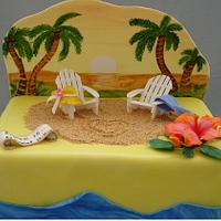 Hawaiian Sunset Wedding cake