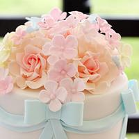 Pastels and wafer paper wedding cake