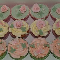 vintage cupcake tower with cutting tier by Sandra's cakes