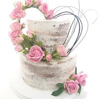 Naked cake with heart