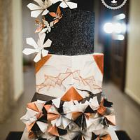 Modern Geometric Inspired Wedding Cake