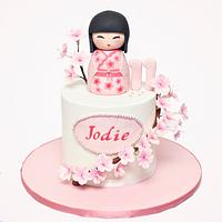 Kokeshi Doll and Cherry Blossoms Cake