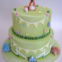 2 Tier Woodland Creature / Meadow Joint Christening Cake