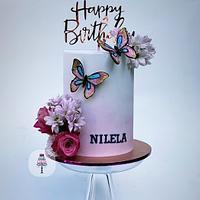 Flower and butterflies cake