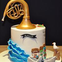 Birthday Cake with French horn