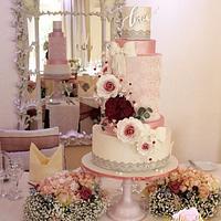 Romantic pink lace wedding cake