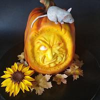 "Carved ""pumpkin"" cake"